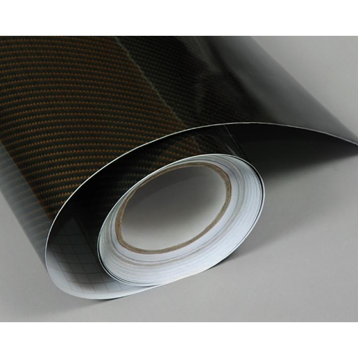 Пленка под карбон 2d черно-золотой прямоуг 1.52м #8009