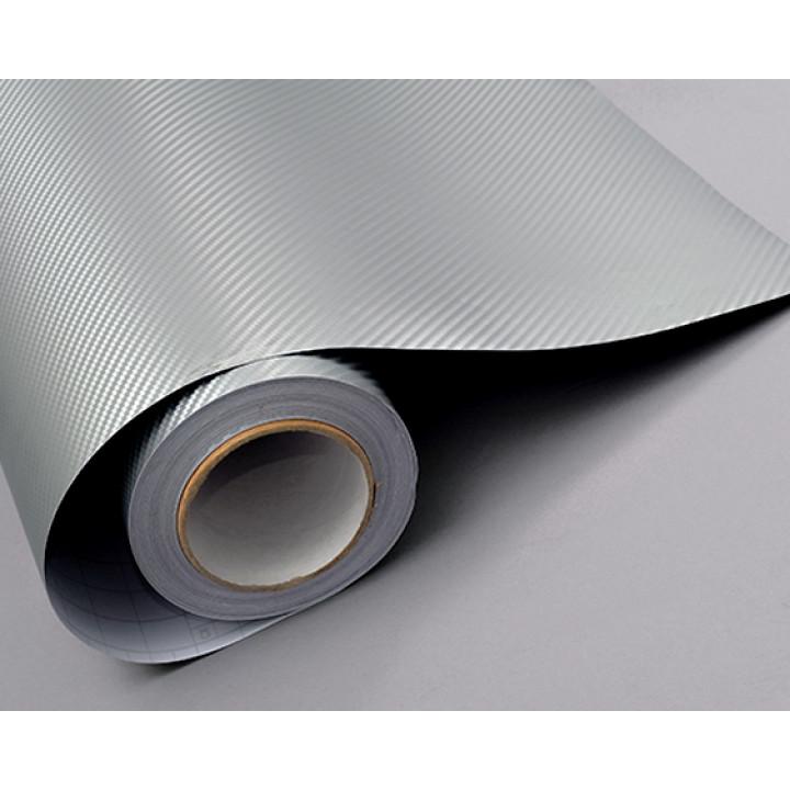 Пленка под карбон 3d серебро (светлосерая), 1.52м #1010