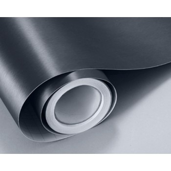 Пленка под шлифованный алюминий темно-серый (графит) с блеском #8017
